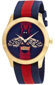 Gucci Gucci G-Timeless Blue and Red Dial wth an Embroidered Bee Ladies Watch