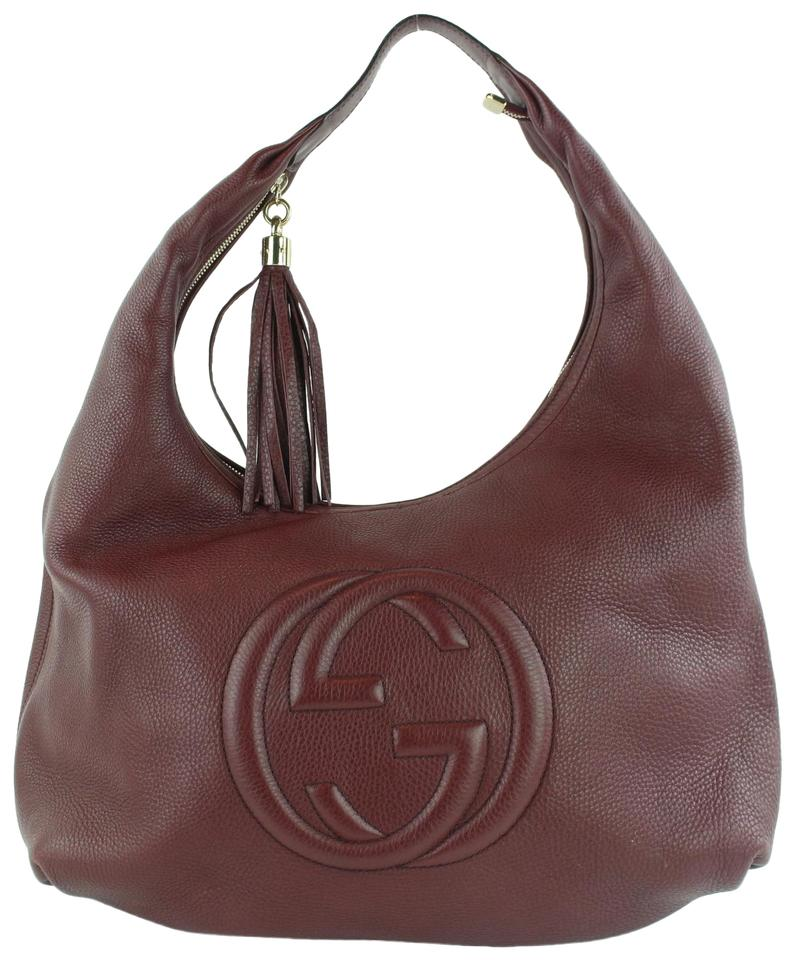 06d2513f967f3 Gucci Soho Large Pebbled Calfskin 17gz1102 Burgundy Leather Hobo Bag ...