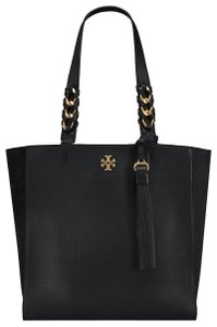 Tory Burch Leather Chain Brooke Tote in Black