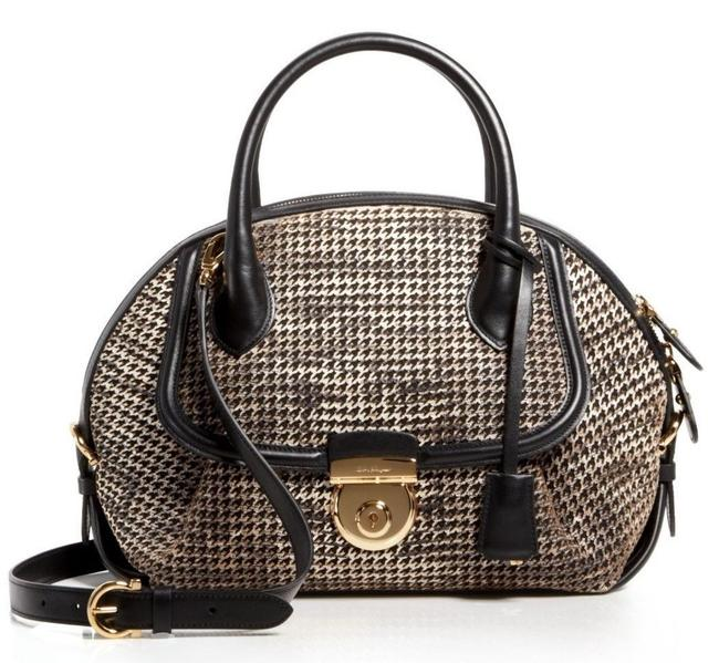 Item - Italy Satchel Purse Black Houndstooth Gold Leather Tote