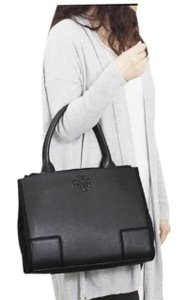 Tory Burch Leather Shoulder Work Tote in black
