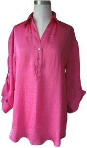 Violet & Claire Silky Anthropologie Office Attire Button Down Top Pink