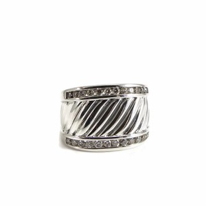 David Yurman David Yurman Sterling Silver .50tcw Diamond Cable Cigar Band Ring