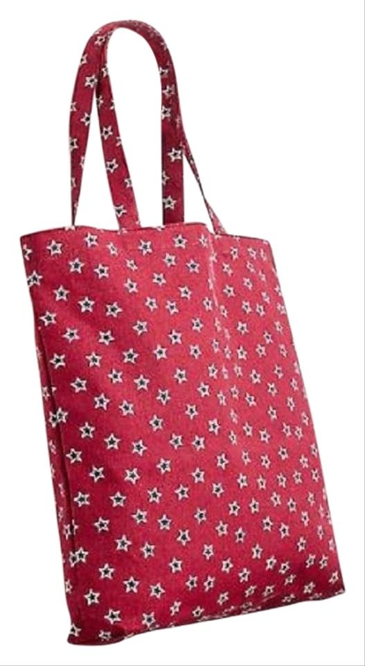 J Crew And Blue Reusable Everyday In Star Red Canvas Tote