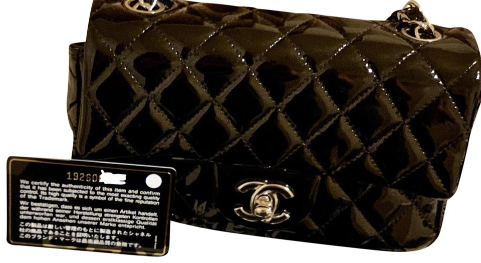 8c50bc252a1a62 Chanel Quilted Mini Rectangular Flap Black Patent Leather Shoulder ...