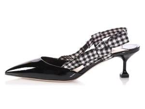 Miu Miu Slingback Kitten Mm.p0917.19 Checkered Pointed Toe Black Pumps