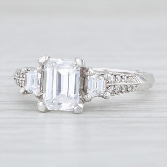 Tacori Platinum Three Stone Diamond Cz Semi Mount Engagement Ring Tradesy