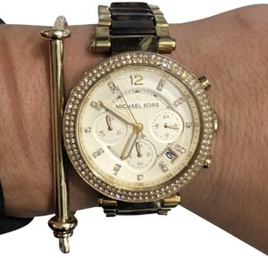 Michael Kors Michael Kors Pave gold and tortoise texture watch