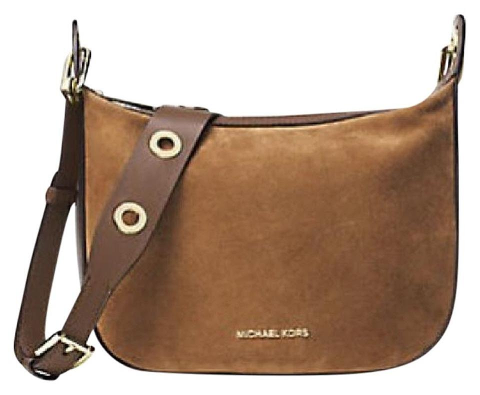 ac9d648fb65a Michael Kors Raven Medium Grommet Suede Brown Leather Messenger Bag ...
