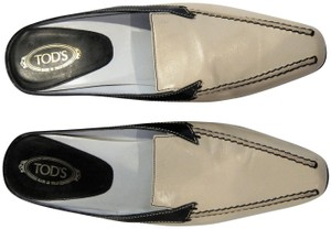 Tod's Kitten Heels Resoled Tone Black and Ivory Beige Mules