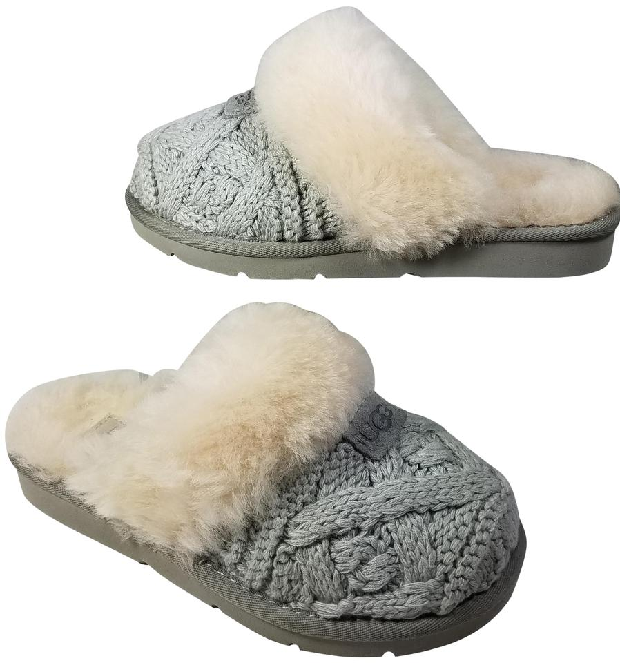 6425c199a99 UGG Australia Gray Cozy Knit Cable Slippers Moccasin Style 1019666 ...