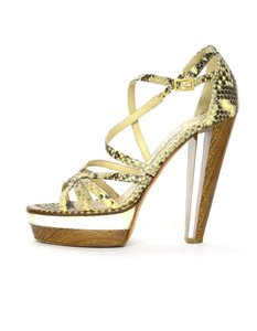 Jimmy Choo Strappy Python Wooden Resin Marble Beige/Brown Platforms