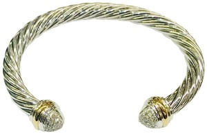 David Yurman David Yurman Pavé Diamond Two Tone Classic Cable Bracelet Sterling silver and 18k yellow gold Beautiful pavé style diamonds at both ends of bangle with 18k yellow gold bands Cuff Style Small 7mm 100% Authentic Guaranteed Comes inside original David Yurman pouch!