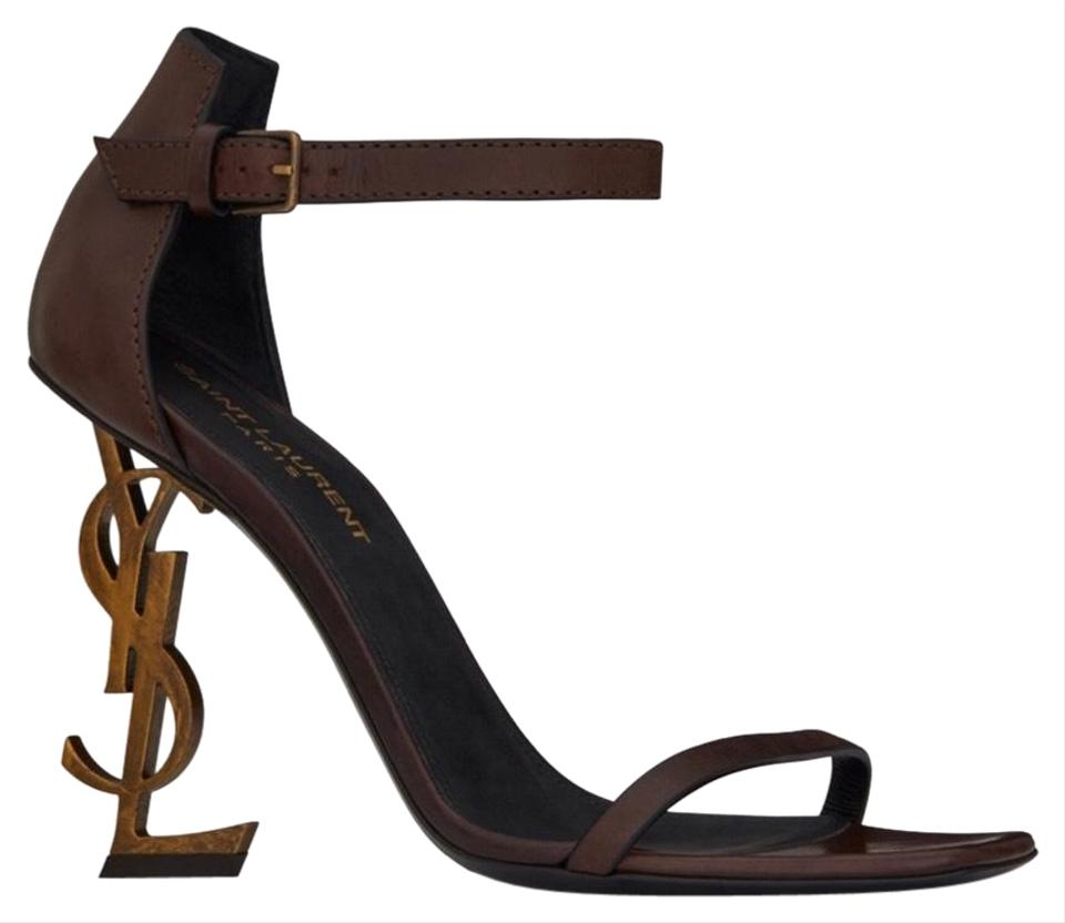 a7cc65fa1217 Saint Laurent Brown Opyum In Leather with Gold-toned Heel Sandals ...