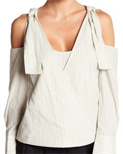 BCBGMAXAZRIA Top gray white