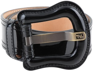 Fendi Fendi Black Patent Leather Buckle Belt