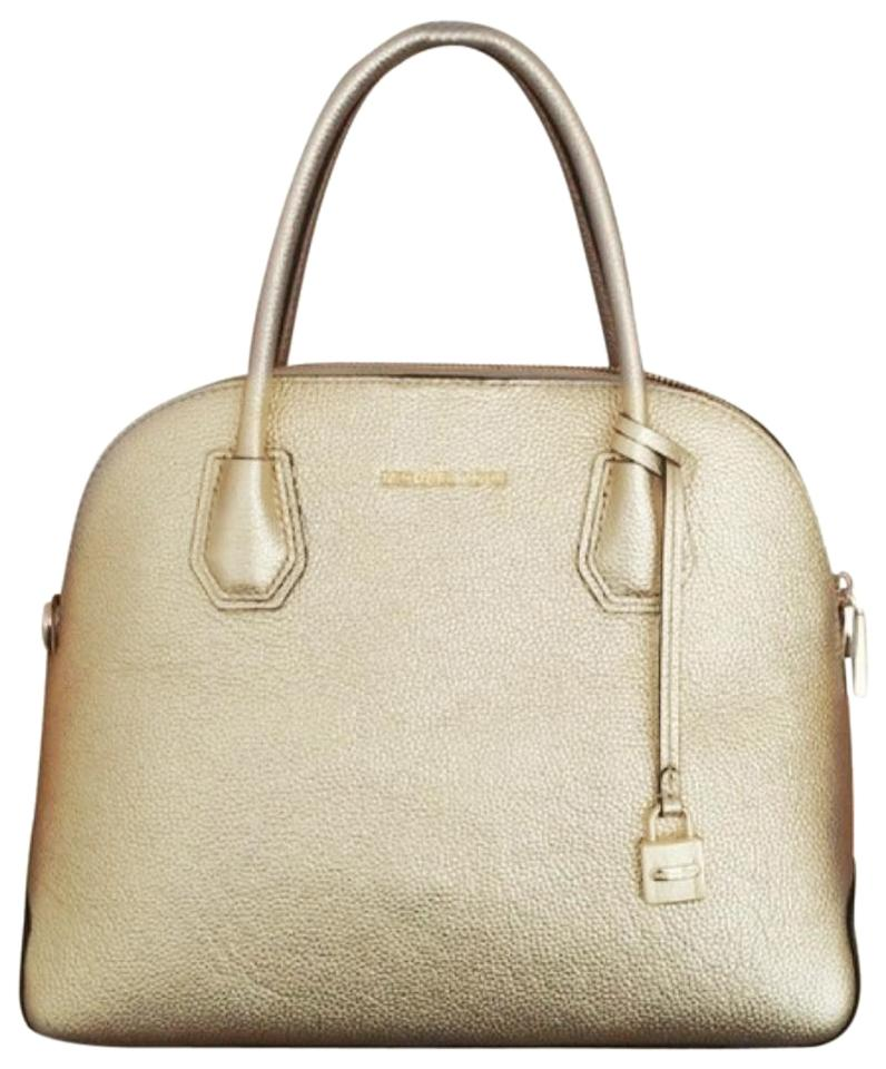 7043b382fc97a Michael Kors Mercer Large Dome Pale Gold Leather Satchel - Tradesy