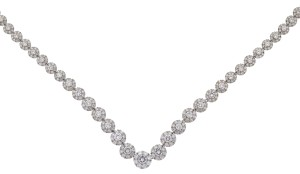 Other 18k White Gold Diamond Flower Multi Stone Ladies Necklace Approx 10.9