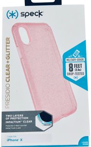 Speck NEW Pink Glitter Clear Speck Presidio iPhoneX Case