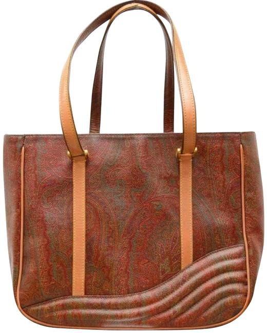 Item - Paisley Quilted Waves Tan/Red Leather/Canvas Tote