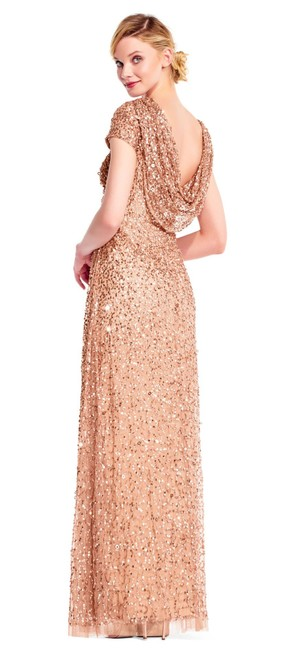 Item - Rose Gold Cowl Back Beaded Evening Gown Long Formal Dress Size 12 (L)