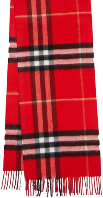 Item - Bright Military Red The Classic Giant Check Cashmere Scarf/Wrap