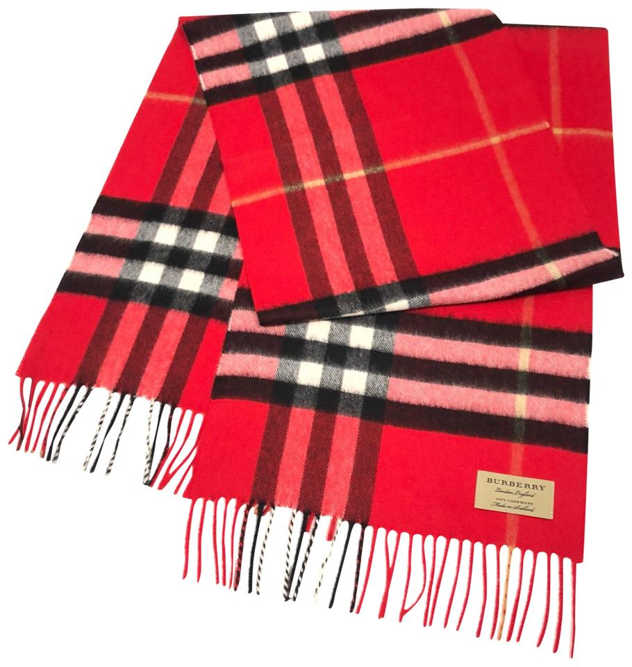 77c54bdf3 Burberry London Bright Military Red The Classic Big Giant Check Cashmere  Scarf/Wrap