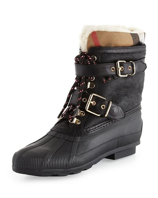 Item - Black Classic Check Windmere Buckled Leather Shearling Weather Lace-up Boots/Booties Size EU 35 (Approx. US 5) Regular (M, B)