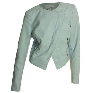 Bar III Large Faux Leather Moto Clear Blue Jacket