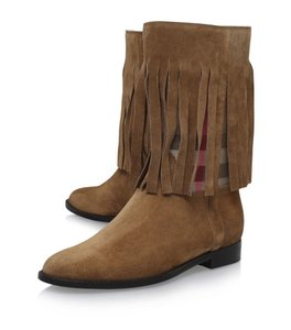Burberry Fringe Checkered Classic Fringe Brown Boots
