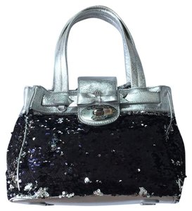 My Flat in London Tote in silver and black