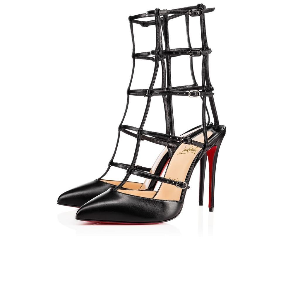 8fed5eb6bed3 Christian Louboutin Black Classic Kadreyana 100mm Leather Caged Point Toe  Heels Strappy Pumps