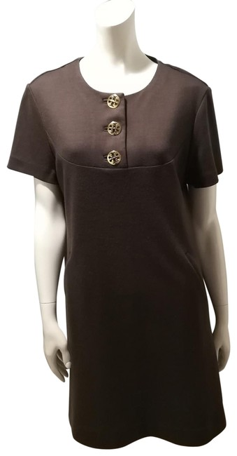 Item - Brown Wool with Buttons Mid-length Short Casual Dress Size 12 (L)