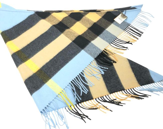 Item - Pale Carbon Blue The Bandana In Check Cashmere Scarf/Wrap