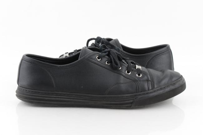 Item - Black Leather Low Top Sneakers Shoes
