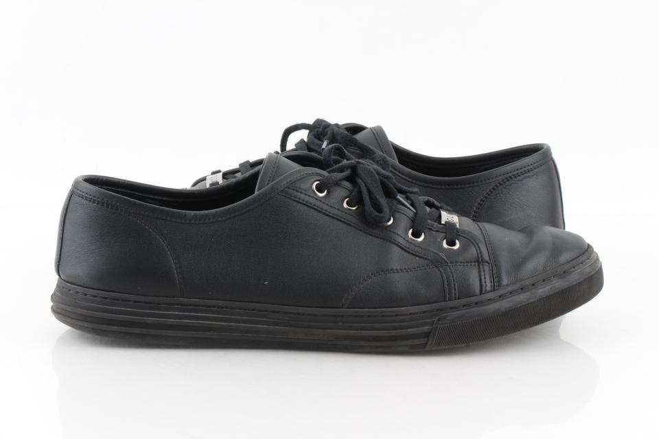 Gucci Black Leather Low Top Sneakers Shoes 43% off retail