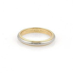 Tiffany & Co. Platinum 18k YGold Double Milgrain 3.5mm Band Ring Size 5.5
