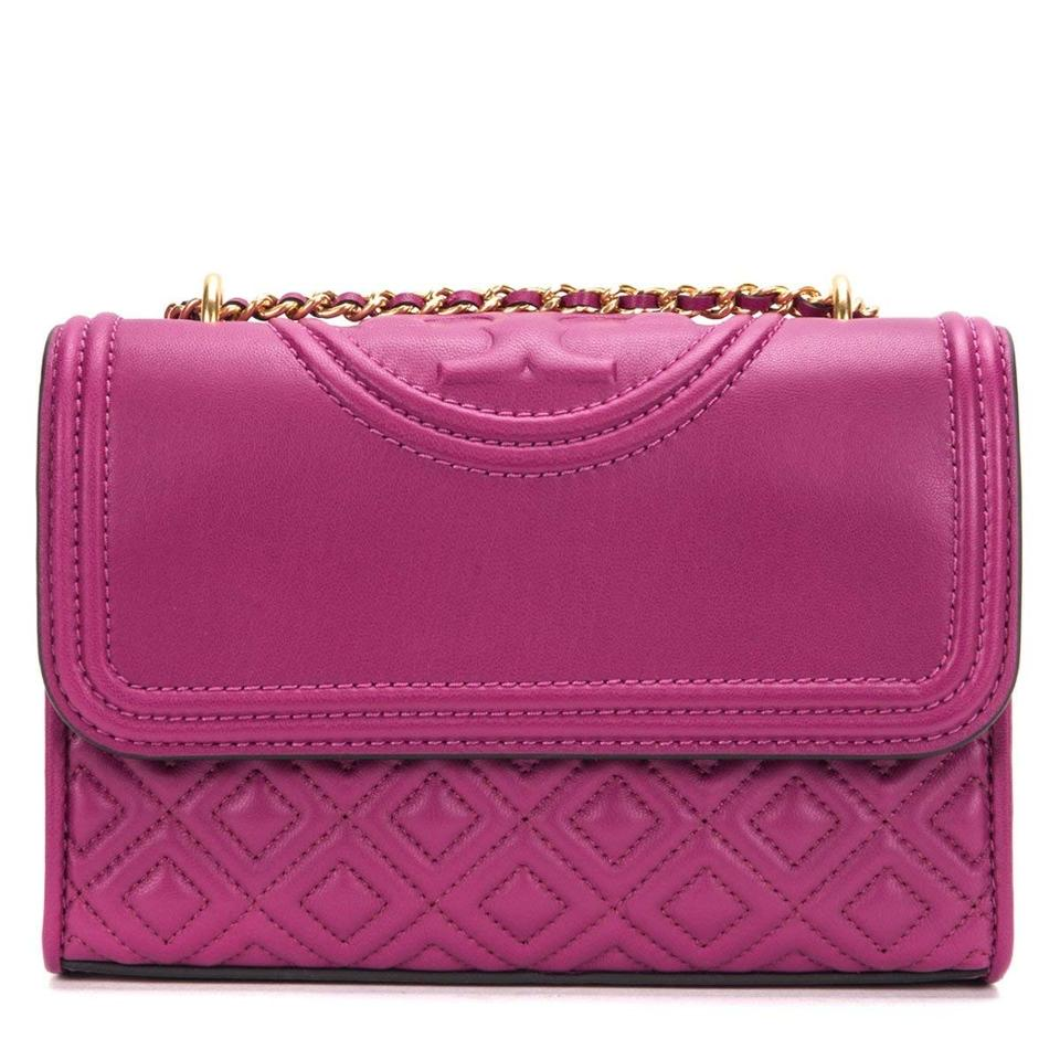 6a47a8faa31c5 Tory Burch Fleming Small Convertible Party Fuchsia Leather Shoulder ...