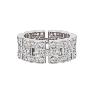 Cartier Cartier 18Kt Maillon Panthere Full Diamond White Gold 3-Row Band Ring