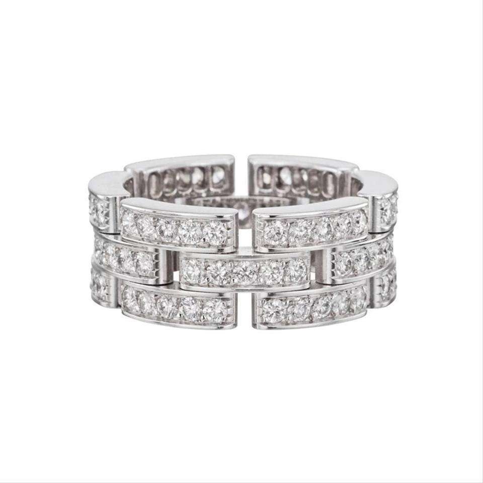 2344cdb4cd3 Cartier Cartier 18Kt Maillon Panthere Full Diamond White Gold 3-Row Band  Ring Image 0 ...