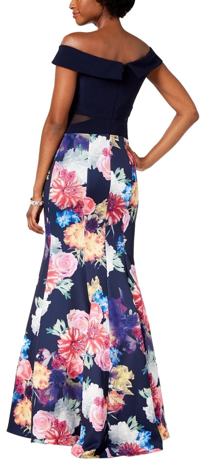9c031069 Xscape Floral/Multi Off-the-shoulder Mermaid Gown Navy/Pink 2p Formal Dress