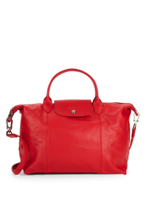 Item - Crossbody Small Le Pliage Cuir with Strap Cherry Red Lambskin Leather Tote