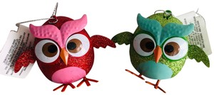 """Lord & Taylor Two 3"""" Whimsical Glittered Owl with Dangle Feet Christmas Ornament"""