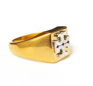 Tory Burch New Tory Burch Block T-Logo Ring - Size 8 Brass Gold Silver