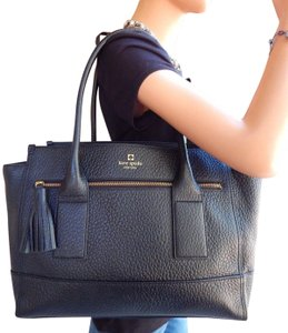 Kate Spade Leather New York Gold Hardware Tote in Black