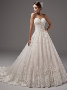 Sottero and Midgley Ivory Lace Jewel Traditional Wedding Dress Size 14 (L)