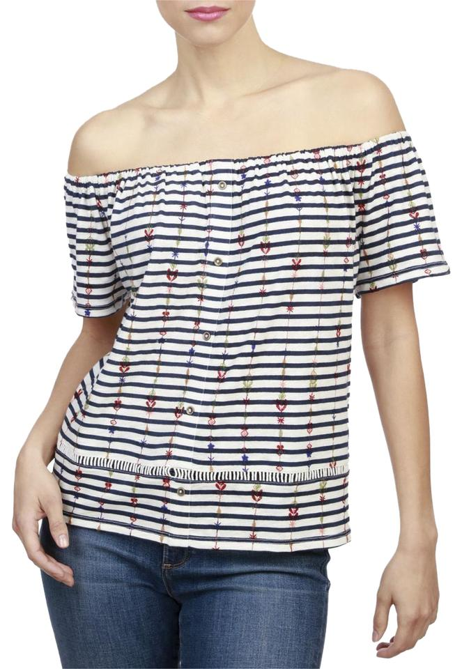 e9172096cbf Lucky Brand Striped Embroidered Off Shoulder Top White/BLue Image 0 ...