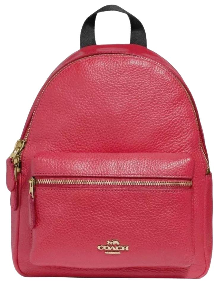 0fab715fc Coach Medium Cherry Red Pebbled Leather Backpack - Tradesy