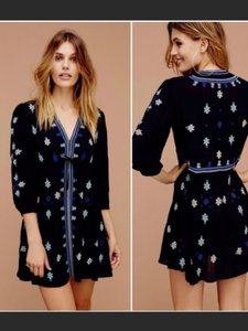 Free People short dress Black Embroidered Empire Waist on Tradesy