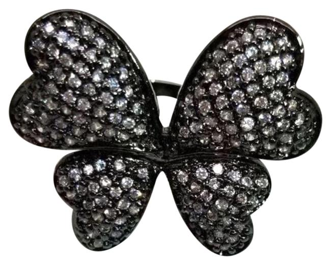 Item - Black and White Butterfly Micro-pave Simulant Sterling Size 8 Ring